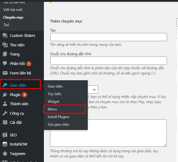 hướng dẫn tạo menu đơn giản